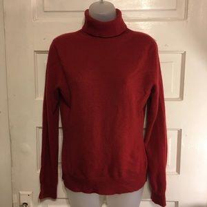 Cashmere Turtleneck Sweater, Deep Rust Sz M Apt 9